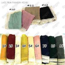 Nuevas tendencias alta moda chal musulmán modesto ancho del cordón del algodón bufanda del hijab