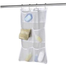 Organisateur de salle de bain et de rangement à suspendre à séchage rapide avec crochets de doublure pour tringle à rideau de douche à 6 poches, organisateur de douche