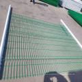 valla curvada 3d paneles revestidos borde verde jardín valla de malla con v pliegues