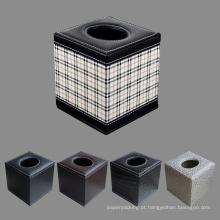 Caixas de papel de tecido quadrado de couro PU