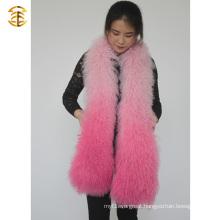 Dyed Mongaolian Fur Cape Real Lamb Fur Shawl Girls Fur Scarf