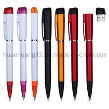 Bolígrafo promocional de la venta caliente / pluma de bola plástica con USB