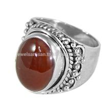 Natürlicher roter Onyx Edelstein handgemachter 925 Sterlingsilber-Männer Ring