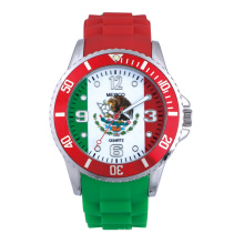 Reloj Football cup alloy case rotating bezel silicon strap Sports watch