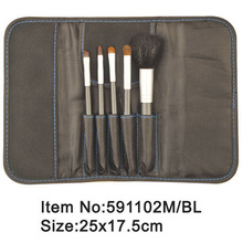 5pcs portable makeup brush kit with black satin purse
