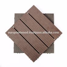 Azulejos de madeira revestidos de plástico de revestimento anti-derrapante / impermeável / alto grau de estabilidade UV e de cor / fácil de instalar