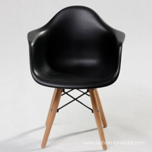 Wood plastic dining chair with armrests