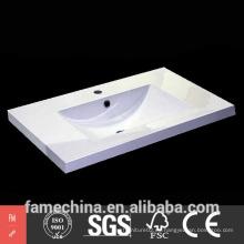 2015 Venta caliente blanco resina de alto brillo lavabo