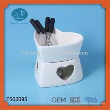 Boa qualidade de chocolate forma agradável fondue conjunto com garfo, queijo ferramenta tipo fondue definido, conjunto de fondue personalizado
