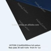 Haute précision 2X500X400mm 3K plaine / sergé mat 100% de la plaque de fibre de carbone, feuille de fibre de carbone 2mm