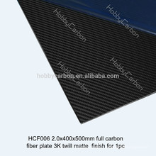 High precision 2X500X400mm 3K plain/twill matte full 100% carbon fiber plate, carbon fiber sheet 2mm
