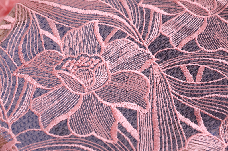 Lt Pink Flower Embroidery Fabric