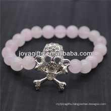 2014 New Design Natural Gemstone Rose Quartz With Diamante Skull Bracelet