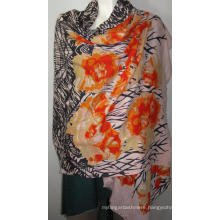 100% Wool Heringbone Shawl Print Na Orange