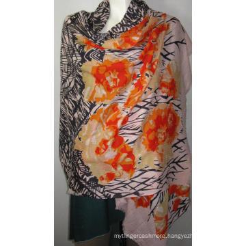 100% Wool Heringbone Shawl Print Na Orange