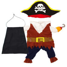 O capitão pirata projeta roupas quentes para animais de estimação