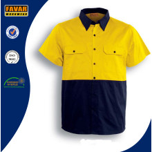 100% Cotton Short Sleeve Hi Vis Twill Safety Work Shirt