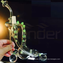 Tubo de agua de vidrio para fumar con Hunders de estilo