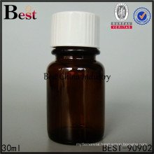 30ml medical pill bottle amber color tablet glass bottle, cosmet essence container printing service, 1-2 free samples