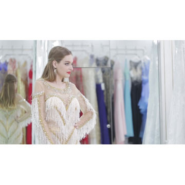 Élégant or brodé à manches longues mousseline de soie robe de soirée 2017 longueur de plancher sexy sirène lacé robe de soirée femmes longues