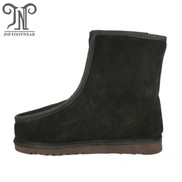 Quality flat blow rubber leather boots for men