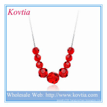 Alibaba fashion jewelry red crystal bead silver pendant necklace