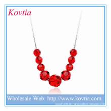 Alibaba moda jóias de cristal vermelho pingente de prata colar de pingente