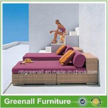 Chaise Lounge de Luxo em Vime de Rattan