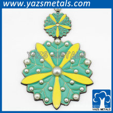 fashion flower and pearl pendant charm for necklace