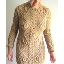 Handmade Hand Knit Mulheres Ladies Warm Lã Evening Winter Dress