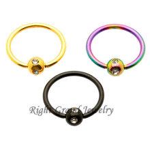 Titan Eloxiert 14G Multi Gem Captive Bead Ring