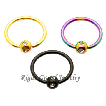 Titanium Anodized 14G Multi Gem Captive Bead Ring