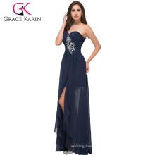 Grace Karin bretelles chérie en mousseline de soie Long bleu marine robes de soirée pas cher faites en Chine CL3443-1