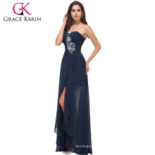Grace Karin Strapless Sweetheart Chiffon Long Navy Blue Cheap Evening Dresses Made in China CL3443-1