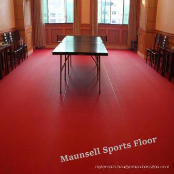Ittf certificat de haute qualité bon marché de PVC de plancher d'intérieur de rouleau de PVC de certificat / tapis pour l'épaisseur de tennis de table 4.5mm