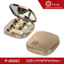 Gold square four color empty eyeshadow pan/container wholesale