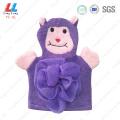 Microfiber animal shower gloves sponge