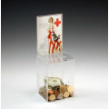 Small Clear Acrylic Donation Box with Sign Holder, Non-Locking