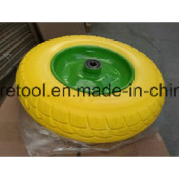 Heavy Duty Wheelbarrow 3.50-8 Yellow PU Wheels with Metal Rim