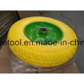 Сверхмощный тачку 3.50-8 желтый колеса PU с оправой металла