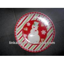 Haonai 2014 décalque complète imprimer la plaque d'art en céramique de bonhomme de neige
