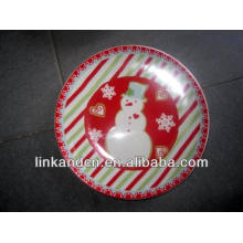 Haonai 2014 full decal print snowman ceramic artwork plate