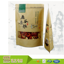 Wholesale Moisture-Proof Kraft Food Grade Packaging Small Wax Lined Paper Bags With Clear Window For Dried Food