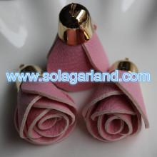 30*40MM Faux Leather Rose Flower Fringe Tassel For Handbag