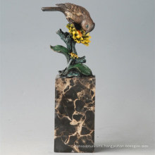 Animal Bronze Sculpture Bird Flower Birdle Carving Deco Brass Statue Tpal-298