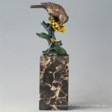 Животная бронзовая скульптура Птица Цветочная Птица Резьба Деку Статуя латунная Tpal-298