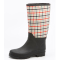 Beautiful Grid Cloth With Rubber Rain Boots