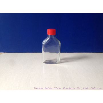 100ml Flat Glass Alcohol Bottles with Lids