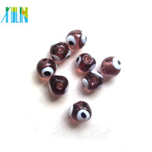 handmade european transparent purple round evil eye beads