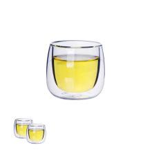 Mini copo de chá de vidro de parede dupla